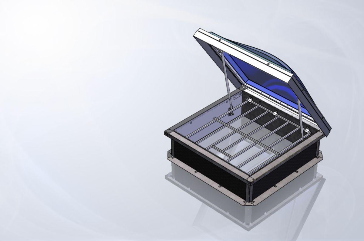 SKYDOME - Pyrotop en polycarbonate alvéolaire 10 OPAL avec grille ouvrante 100 x 100 cm Réf ...